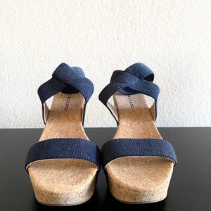 Lucky Brand Marinah Navy Cork Wedges
